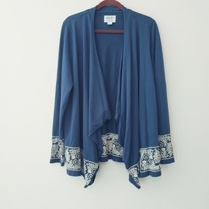 Lucky Lotus Lucky Brand Blue Embroidered Cardigan